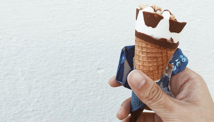 Holding a Cornetto ice cream